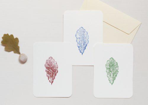 Carte illustrée chêne - petite estampe imprimée à la main à partir d'une gravure sur bois • Papeterie artisanale fabriquée par 23janvier