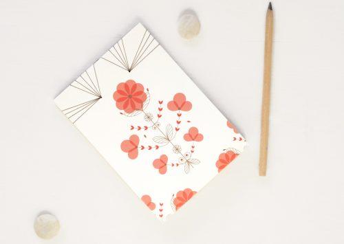 """Carnet japonais illustré du motif floral """"Coquelicot"""" - carnet japonais relié à la main • Papeterie artisanale créée dans le sud-ouest par 23janvier"""