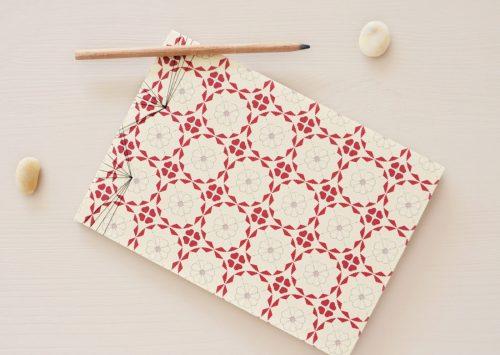 """Carnet japonais illustré du motif floral """"Nordique"""" - carnet japonais relié à la main • Papeterie artisanale créée dans le sud-ouest par 23janvier"""