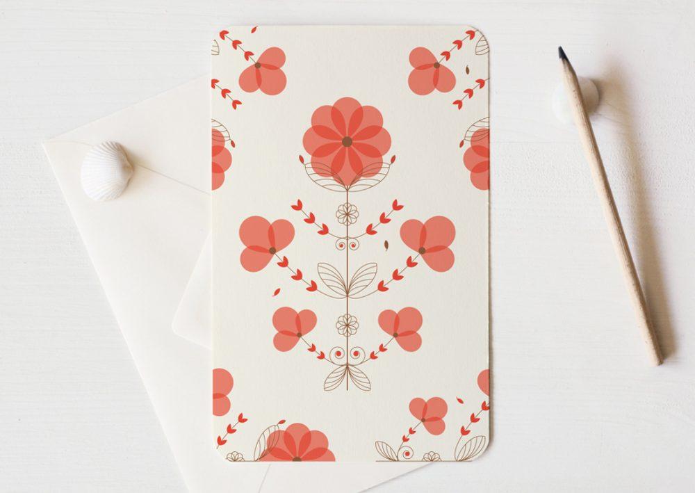 Grande carte illustrée (enveloppe incluse) - motif floral coloré et délicat inspiré du Coquelicot • Papeterie artisanale fabriquée par 23janvier