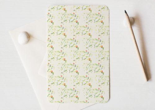 Grande carte illustrée (enveloppe incluse) - motif d'inspiration florale Liberty • Papeterie artisanale fabriquée par l'atelier 23janvier