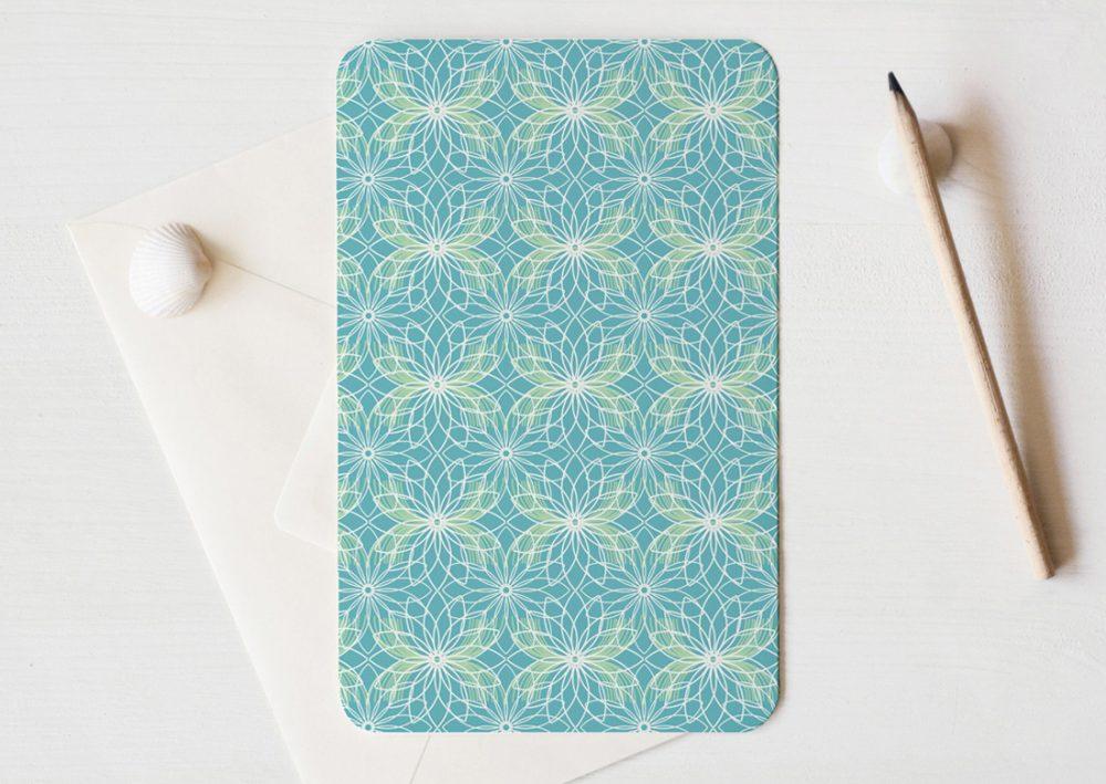 """Grande carte illustrée (enveloppe incluse) - motif d'inspiration japonaise et florale """"Lotus"""" • Papeterie artisanale fabriquée par l'atelier 23janvier"""